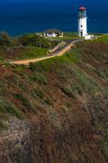 Kilauea Lighthouse on Kilauea Point Kauai Hawaii USA - stock photo
