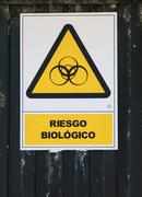 Warning sign Riesgo Biologico biohazard warning Stock Photos