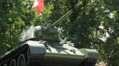 Soviet tank monument of WWII Stock Footage