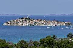 The historic centre of Primosten Adriatic Sea Sibenik Knin Dalmatia Croatia - stock photo
