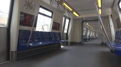 Interior subway train, fast movement inside big city, no commuters travel now Stock Footage