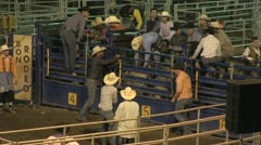 Rodeo bull riding 10 slowmotion Stock Footage