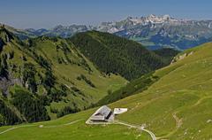 Mt Alpe Gritsch or Alp Gritsch near Malbun Alpstein massif at the back Stock Photos