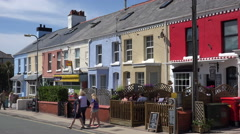 Colourful houses and cafe, rhosneigr, anglesey, wales, uk Stock Footage