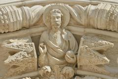 Depiction of Jesus at the entrance Sibenik Cathedral or Katedrala sv Jakova Stock Photos