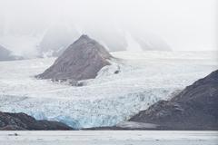 Smeerenburg Glacier Spitsbergen Island Svalbard Archipelago Svalbard and Jan - stock photo