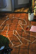 Stock Photo of Markings crime scene silhouette of a victim
