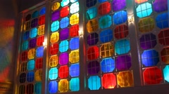 Color glass window in the Pub Stock Footage