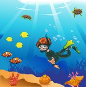 Diver swims in the ocean - stock illustration