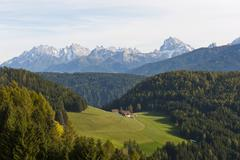 Small alpine pasture in a wooded landscape view towards the Prags Dolomites - stock photo