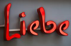 Neon sign with the word Liebe German for Love Stock Photos