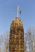 A built up wooden tower with witches for the bonfire Lauterach Rhine Valley - stock photo