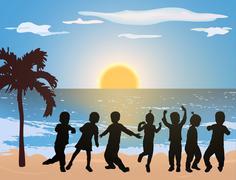 children dancing on the beach - stock illustration