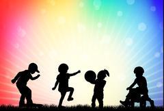 playing children - stock illustration