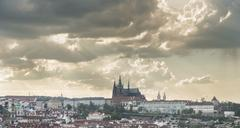 Prague Castle Lesser Town with the Hradcany district and St Vitus Cathedral - stock photo