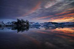 Icebergs Jokulsarlon Glacier Lagoon in the afterglow Vatnajokull Glacier Stock Photos
