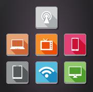 Stock Illustration of gadget flat color  icons