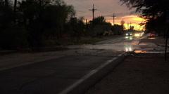 4K UHD dusk flash flooded street bad drivers Arizona 1 Stock Footage