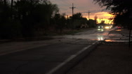 Stock Video Footage of 4K UHD dusk flash flooded street bad drivers Arizona 1