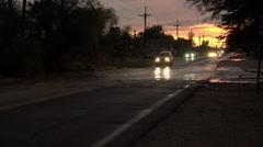 4K UHD dusk flash flooded street bad drivers Arizona 2 Stock Footage