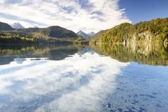 Alpsee lake in autumn Fussen East Allgau Bavaria Germany Europe Stock Photos