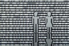 Stock Illustration of Two figures in front of binary code
