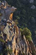 Stock Photo of Bizarre rock erosions in the evening light Calanche Les Calanches de Piana