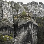 Stock Photo of Rocky landscape Bastei rock Elbe Sandstone Mountains Saxon Switzerland Saxony