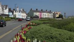 Tilt up from flowers to traffic, beaumaris, anglesey, wales, uk Stock Footage