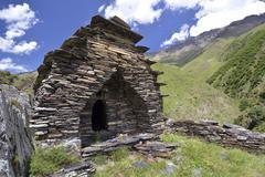 Medieval church built from layered stones Mutso High Caucasus Kuvituskuvat
