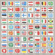 set of world states flags - stock illustration