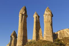 Fairy chimneys phallus shaped tufa formations Love Valley Goreme National Park - stock photo