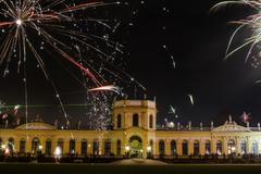 New Year39s Eve fireworks in front of the Orangerie Kassel Hesse Germany Europe - stock photo