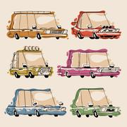 Retro cartoon cars set Stock Illustration