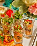 restaurant food canapes appetizers - stock photo
