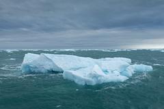 Icebergs floating on the sea off Nordaustlandet Svalbard Archipelago Svalbard - stock photo