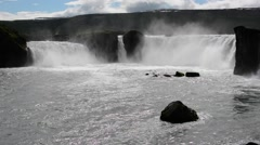 Famous Godafoss waterfall in the sun, Iceland Stock Footage