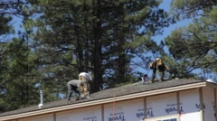 Home Construction - Roofers Stock Footage