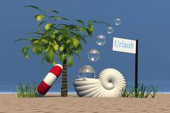 Sign Urlaub or holiday with nautilus shell palm tree and swimming tire at the Piirros