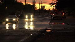 4K UHD dusk flash flooded street bad drivers Arizona 6 Stock Footage