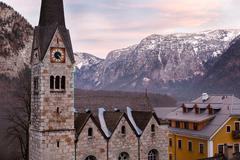 Protestant church of Hallstatt, Salzkammergut, Austrian Alps Stock Photos