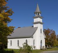 St James Anglican Church circa 1827 Eastern Townships Quebec Canada North - stock photo