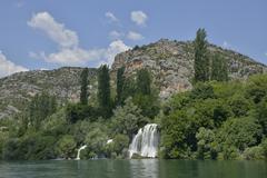 Roski slap waterfall Krka National Park Sibenik Knin County Dalmatia Croatia Stock Photos