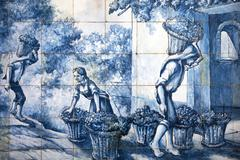Azulejo painted tiles vintage Madeira Portugal Europe - stock photo