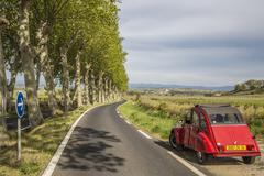 Country road with plane trees and a red Citroen 2CV Poilhes Stock Photos