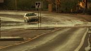 Stock Video Footage of 4K UHD flooded street monsoon traffic hazard storm rain deep splash danger 2