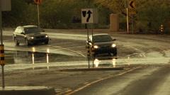 4K UHD flooded street monsoon traffic hazard storm rain deep splash danger 1 Stock Footage