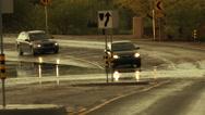 Stock Video Footage of 4K UHD flooded street monsoon traffic hazard storm rain deep splash danger 1