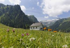 St Rochus Chapel Church of St Roch Nenzinger Himmel alpine pasture Stock Photos