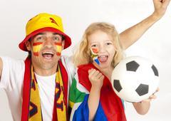Soccer fans, various flags, football Kuvituskuvat